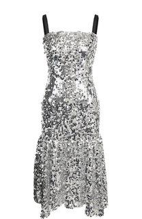 Приталенное платье-миди с оборкой и декоративной отделкой Dolce & Gabbana