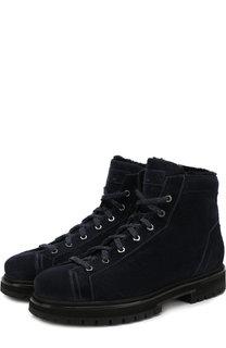 Замшевые ботинки с внутренней меховой отделкой на шнуровке Santoni