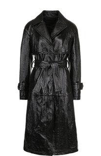 Кожаное пальто с поясом и карманами DROMe