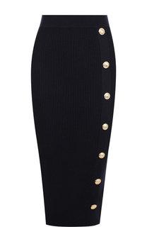 Шерстяная юбка-миди с декоративными пуговицами Balmain