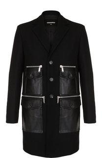 Шерстяное пальто с накладными кожаными карманами Dsquared2