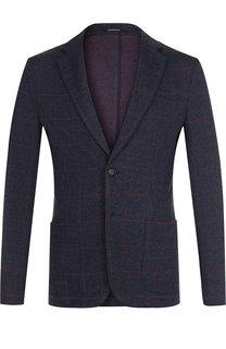 Однобортный пиджак из смеси хлопка и шерсти Emporio Armani