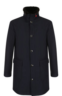 Утепленная куртка на пуговицах с меховой отделкой воротника Kiton