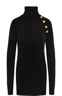 Удлиненный пуловер с воротником-стойкой Balmain