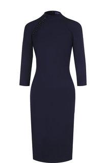 Приталенное платье из смеси шерсти и шелка с воротником-стойкой Ralph Lauren