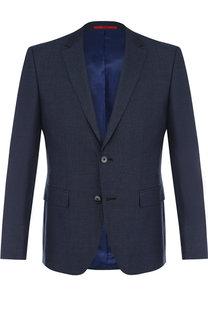 Однобортный пиджак из смеси вискозы и шерсти HUGO