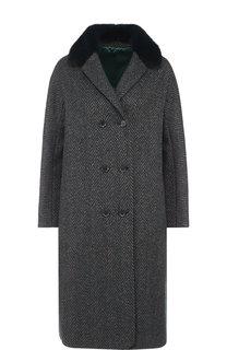 Двубортное пальто с меховым воротником Kiton
