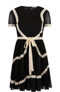 Плиссированное мини-платье с кружевной отделкой REDVALENTINO