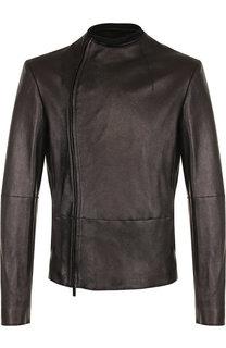 Кожаная куртка с косой молнией Emporio Armani