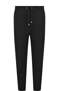 Хлопковые брюки прямого кроя с поясом на резинке Just Cavalli