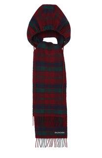 Шерстяной шарф с капюшоном в клетку Balenciaga