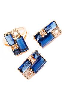 Комплект: серьги, кольцо Aquamarine