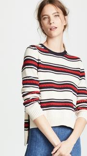 Chinti and Parker Lace Stitch Split Hem Sweater