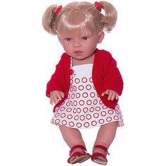 """Кукла-пупс Vestida de Azul """"Soft Touch"""" Луна с хвостиками в красной жилетке, 38 см"""