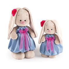 Мягкая игрушка Budi Basa Зайка Ми в синем платье с розовым бантиком, 25 см