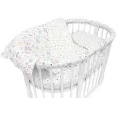 """Комплект постельного белья для овальной кроватки Baby Nice """"Лесная поляна"""" розовый"""