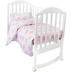 """Комплект постельного белья на резинке Baby Nice """"Облака"""" розовый"""