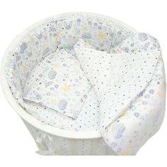 """Комплект постельного белья для круглой кроватки Baby Nice """"Лесная поляна"""" голубой"""