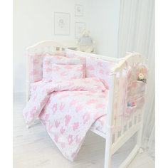 """Комплект в кроватку из 9 предметов Baby Nice """"Облака"""" розовый"""