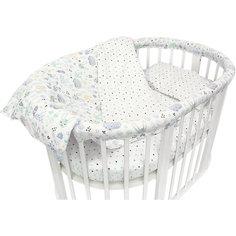 """Комплект постельного белья для овальной кроватки Baby Nice """"Лесная поляна"""" голубой"""