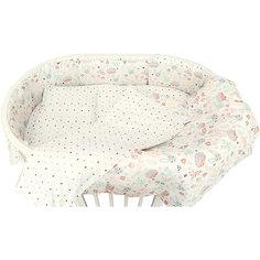 """Комплект постельного белья для овальной кроватки Baby Nice """"Лесная поляна"""" бежевый"""