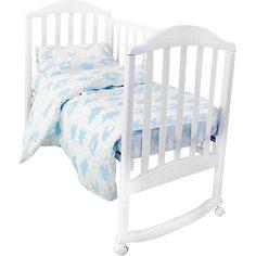 """Комплект постельного белья на резинке Baby Nice """"Облака"""" голубой"""