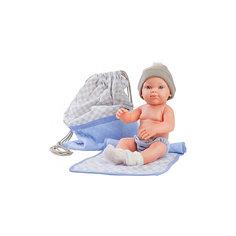 """Кукла Paola Reina """"Бэби"""" с рюкзаком и одеяльцем, 32 см, голубой"""