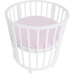 Наматрасник для круглой кроватки Baby Nice розовый