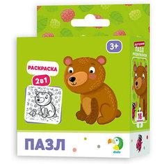 """Пазл-раскраска 2-в-1 Dodo """"Медвежонок"""", 16 элементов"""