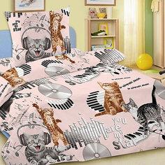 Детское постельное белье 1,5 сп. Letto,Кот диджей,розовый