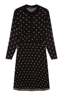 Черное платье с вышивкой и плиссировкой Maje