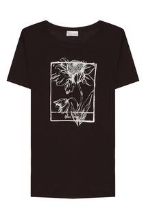 Черная футболка с контрастным принтом RED Valentino