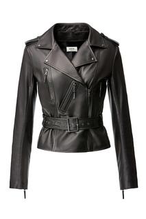 Коричневая кожаная куртка Izeta