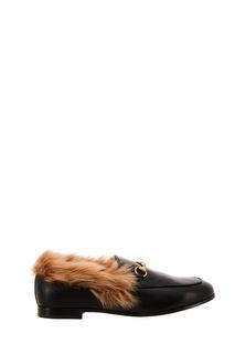 Черные лоферы с мехом Gucci
