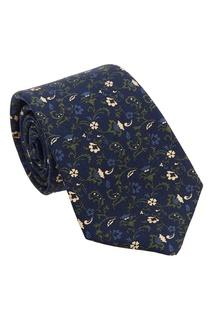 Синий галстук с цветочным узором Kiton