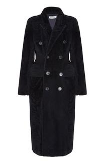 Черное меховое пальто Balenciaga