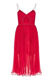Красное плиссированное платье Self Portrait