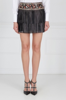 Кожаная юбка-мини с кабошонами Valentino