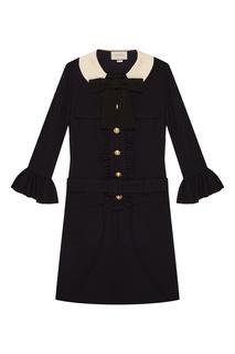 Шерстяное мини-платье с поясом Gucci