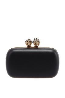 Черный клатч с золотистой застежкой Queen&King