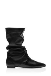 Черные кожаные полусапоги Touche' Bootie flat Aquazzura