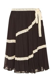 Черная юбка с контрастной отделкой RED Valentino