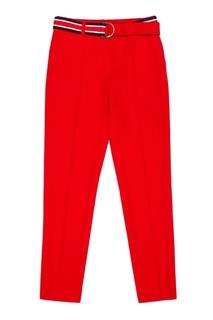 Красные брюки с контрастным поясом Claudie Pierlot