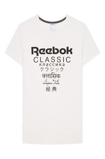 Белая футболка с контрастным принтом Reebok