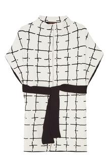 Белое пальто с контрастным принтом Adolfo Dominguez