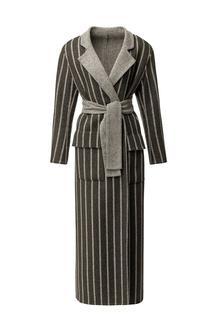 Серое пальто с отделкой Izeta