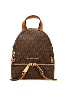 Коричневый рюкзак Rhea Zip с монограммами Michael Michael Kors