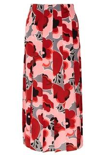 Шелковая юбка с цветочным принтом Gucci