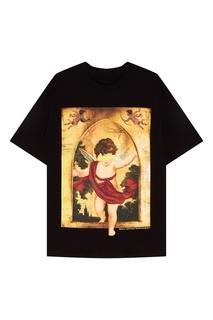 Черная футболка с принтом Mo&Co