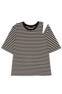 Хлопковая футболка в контрастную полоску Mo&Co